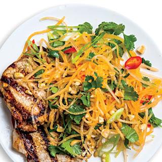 Pork Cutlets With Cantaloupe Salad.