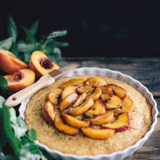 Cornbread with Peaches and Bourbon Syrup (Dairy-Free).
