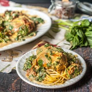 Slow Cooker Creamy Tomato Chicken & Spinach.