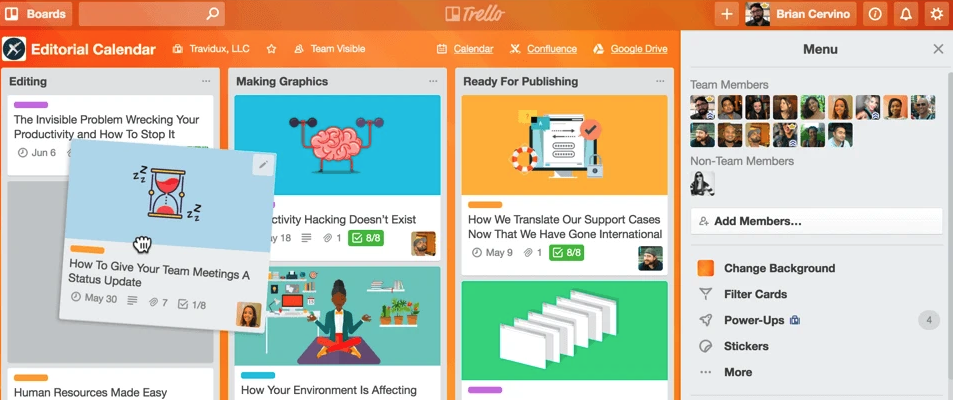 Trello app time management and project management screenshot