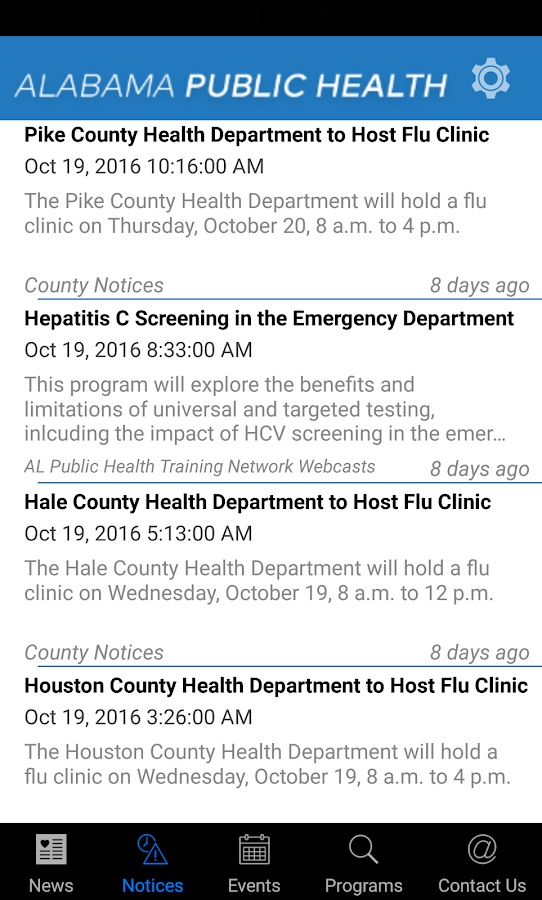 AL Department of Public Health- screenshot