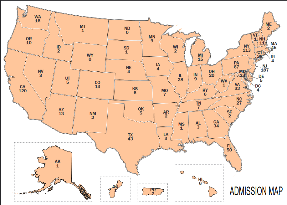 Princeton acceptance rates by state