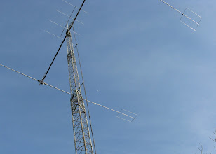 Photo: The 80 meter antenna looks so good at 72 feet. Six meter antenna crowns the top.