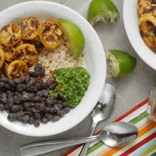 Plantain Black Bean Rice Bowls with Cilantro Pesto.