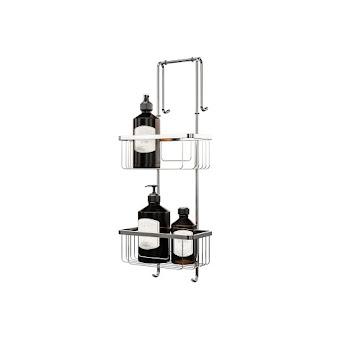 Étagère de douche et salle de bains, 21 x 18 x 67 cm, 2 paniers, inox, organisateur de douche à suspendre