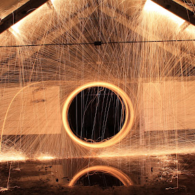 Pyrotography In Action by Graeme Garton - Abstract Light Painting ( light painting, wire wool, firework, light trails, sparks, warehouse, fire, abandoned )