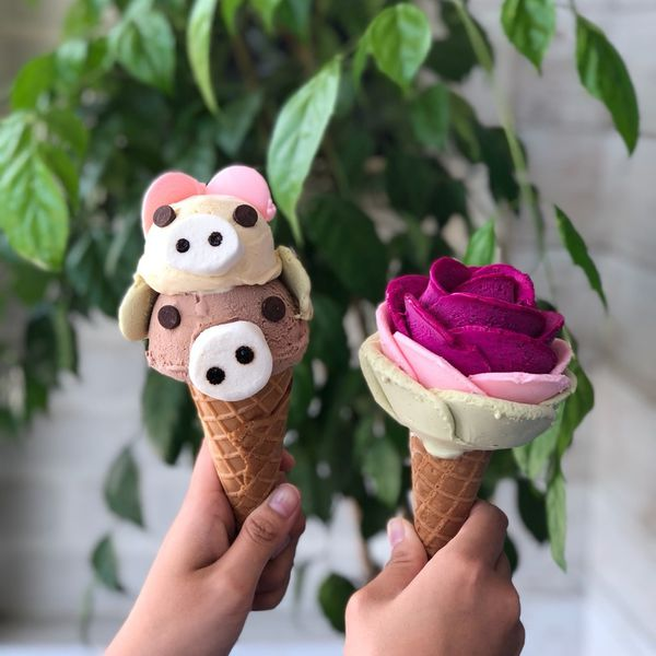 安平超夯玫瑰冰淇淋June30th六月三十義式手工冰淇淋純天然製作清爽好吃又夢幻,新口味水蜜桃好好吃~