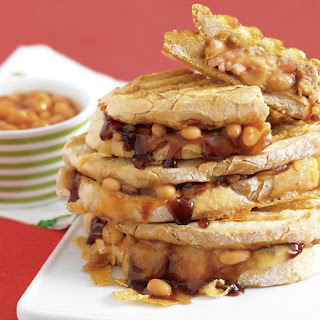 Grilled Paninis with Bacon, BBQ Baked Beans and Cheese.