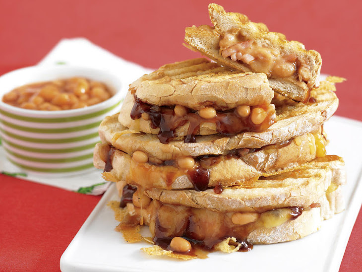 Grilled Paninis with Bacon, BBQ Baked Beans and Cheese