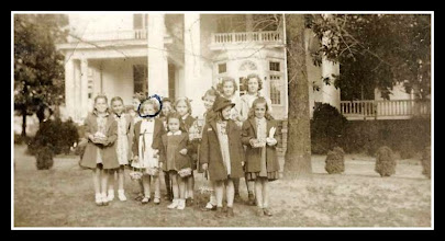 Photo: Suzanne Gardner, circled head (My Mom) Easter Egg Hunt at Webbley 1939?