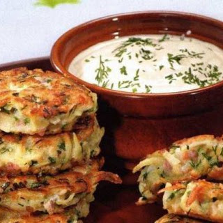 Potato Flapjacks with Ham, Cheese, and Dill