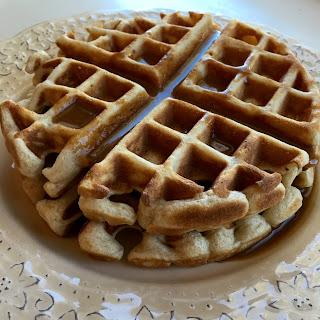 Cinnamon Waffles with Cinnamon Cream Sauce.