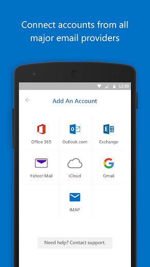 Screenshot 1 for Outlook Mail's Android app'