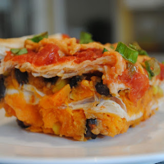 Layered Sweet Potato Enchilada Casserole