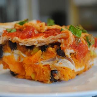Layered Sweet Potato Enchilada Casserole.