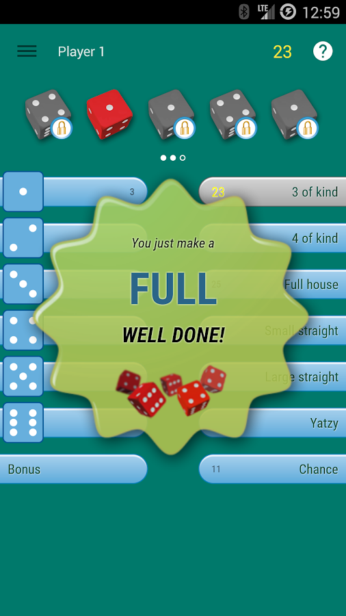 Yatzy dice game- screenshot