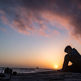 Taking a Break by Bethany McGregor - People Street & Candids ( cape dissapointment, pacific northwest, pacific coast, cape flattery, pacific ocean, sunset, silhouete, family, washington,  )