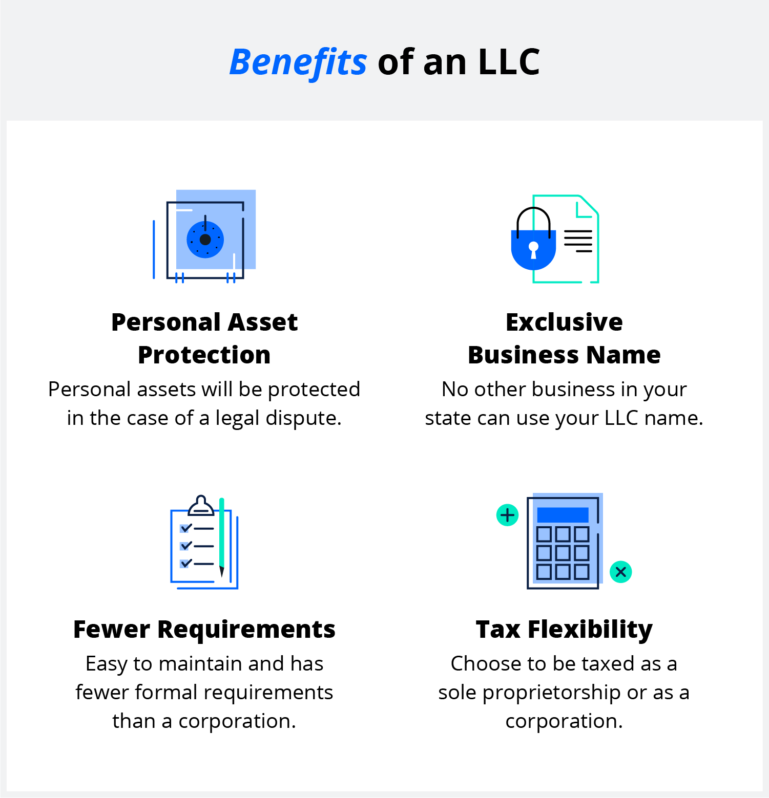 infographic of the benefits of an LLC