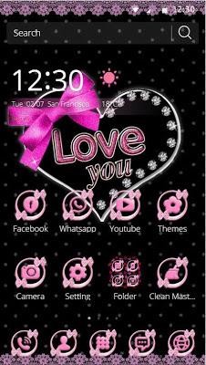 Pink Lace Love Bow Theme Wallpaper - screenshot