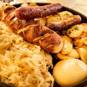 Must be Berlin... by Bogdan Rusu - Food & Drink Plated Food ( mustard, cabbage, potato, sausage, plate )