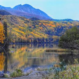 Long Lake Reflections by Patricia Phillips - Landscapes Travel ( alaska lakes long travel autumn )