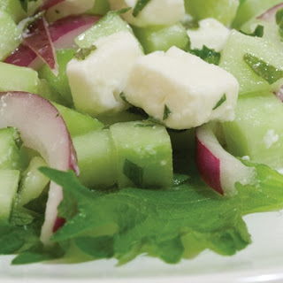 Cucumber Salad with Feta and Shiso.