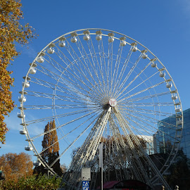 The Ferris wheel on a Xmas market by Svetlana Saenkova - City,  Street & Park  Amusement Parks ( blue sky, ferris wheel, autumn colors, autumn,  )