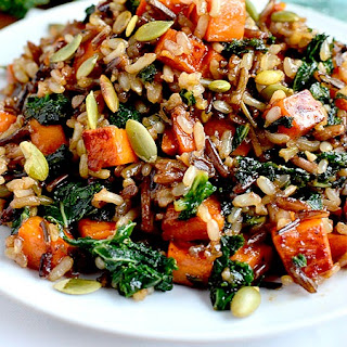 Wild Rice with Caramelized Sweet Potatoes, Shallots and Mushrooms.