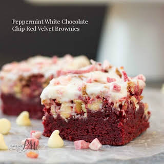 Peppermint White Chocolate Chip Red Velvet Brownies.