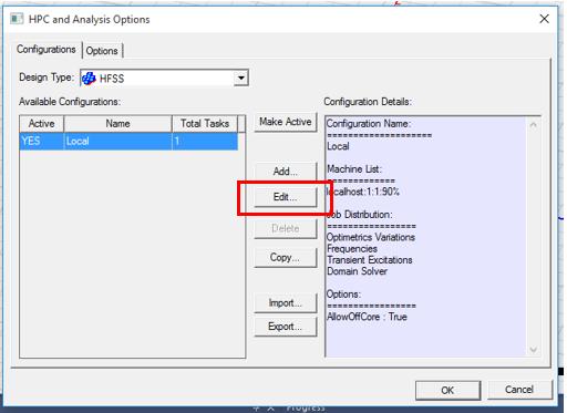 ANSYS Electronics Desktop/HFSS/Maxwell - Нажмите Edit для изменения настроек