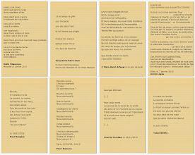 """Photo: Quelques poèmes à Charlie publiés sur le site du Printemps des Poètes et utilisés pour l'installation poétique visuelle et sonore """"Nous sommes la vie, nous sommes Charlie"""" à la bibliothèque Andrée Chedid de Limeyrat pour le Printemps des Poètes 2015 sur le thème de l'insurrection poétique Réalisation Josiane et Didier Ballesta Photographie Didier Ballesta"""