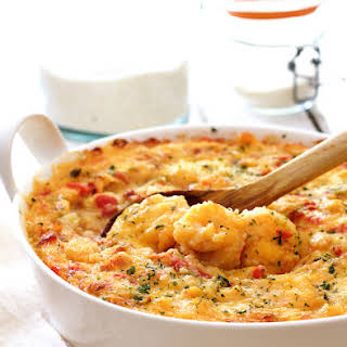 Spicy Shrimp and Grits Casserole with Gouda Cheese.