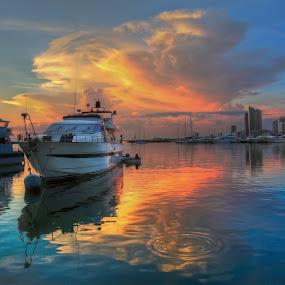 Sunset, Manila Bay by Wilfredo Garrido - Landscapes Sunsets & Sunrises ( sunset, sunrise, transportation, boat, landscape )