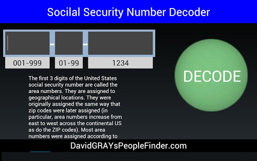 Screenshot for Social Security # Decoder in United States Play Store