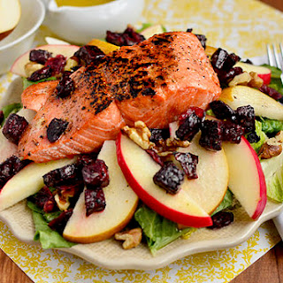Autumn Salmon Salad with Honey-Apple Cider Vinaigrette.
