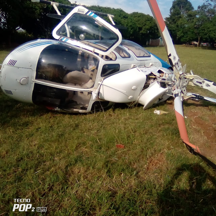 A helicopter carrying ODM leader Raila Odinga crashed minutes after landing in Gem, Siaya County.
