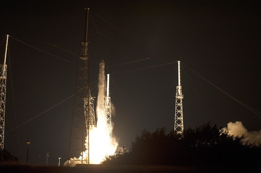 SpaceX rocket lifts off at Cape Canaveral Air Force Station carrying the Dragon resupply spacecraft to the International Space Station.