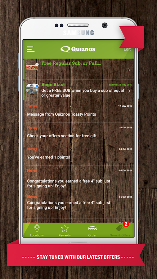 Quiznos Toasty Points- screenshot