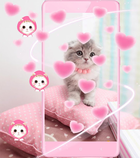 Pink Cute Kitty Cat Theme 1.2.4 Screenshots 1