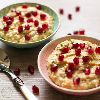 Healthy Hummus with Coriander & Pomegranate Seeds.