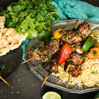 Spiced Curry Kabobs with Coconut Turmeric Rice.