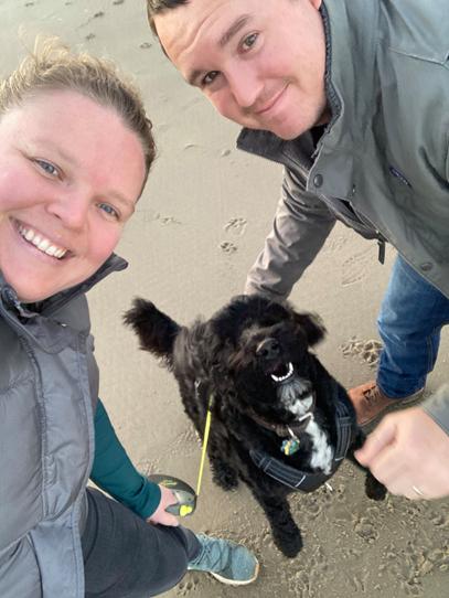 family beach dog