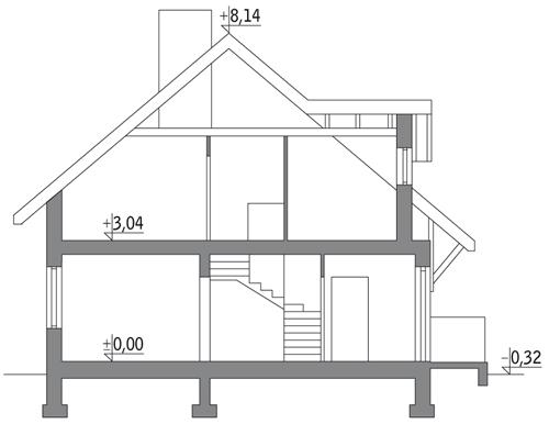 Dom za rogiem - wariant I - C110a - Przekrój