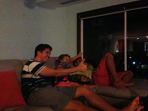 Photo: One evening, watching a Broncos match - Lucca was copying everything Ross did - was so cute!