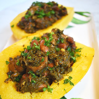 Slow Cooker Persian Inspired Lamb and Herb Stew with Roasted Spaghetti Squash.