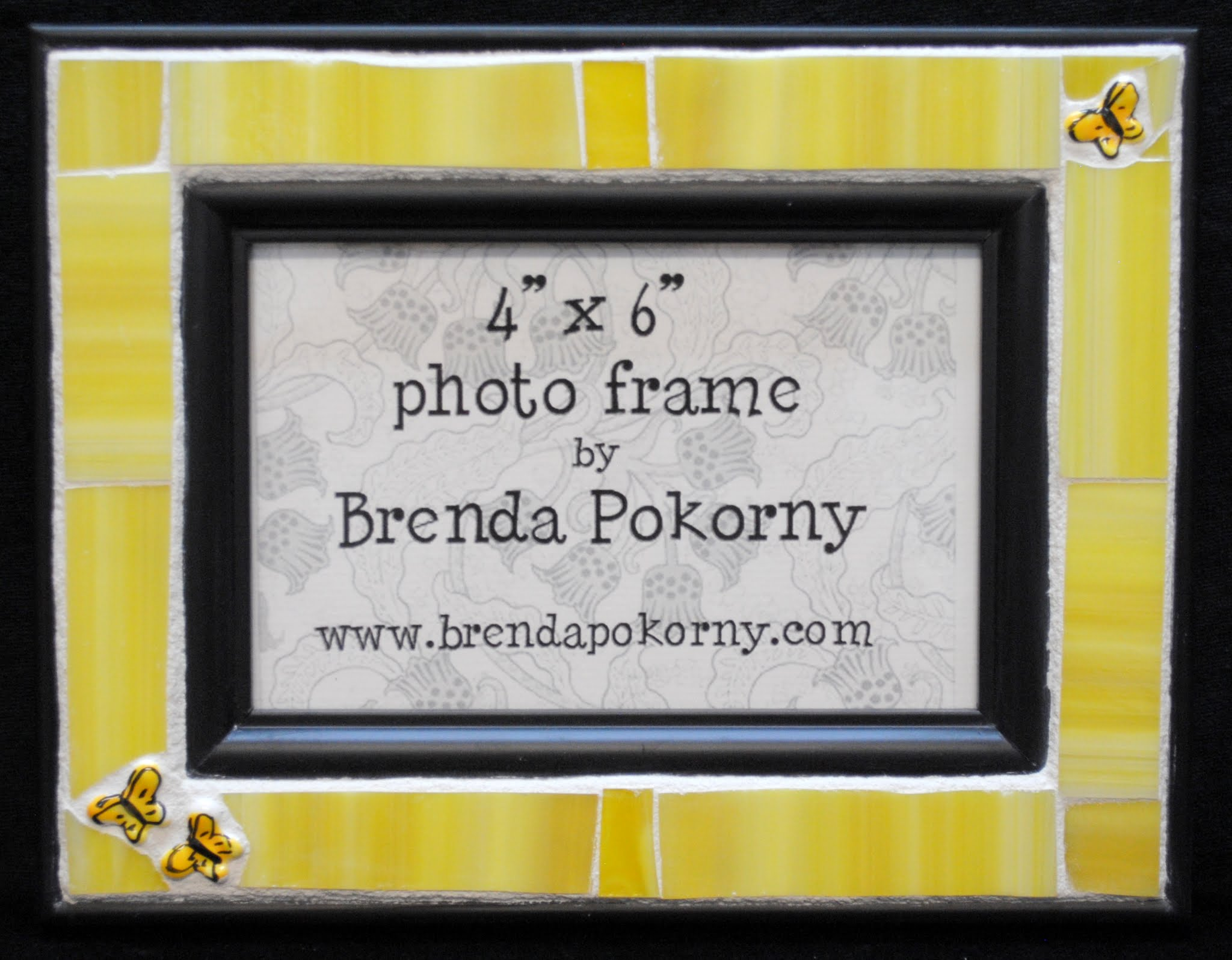 "MOF1245 3 Butterflies on Yellow 4"" x 6"" Mosaic Photo Frame"