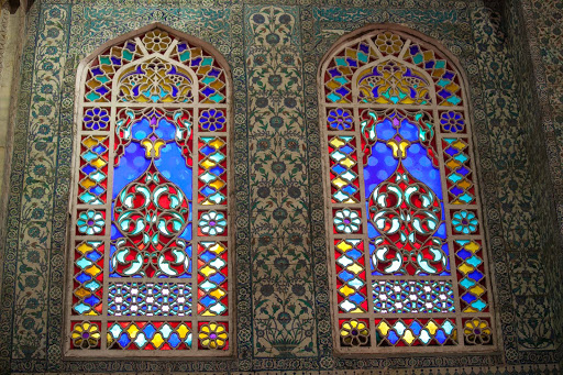 Blue-Mosque-stained-glass-windows.jpg - Elaborately patterned stained glass windows inside the Blue Mosque, or Sultan Ahmed Mosque.