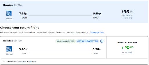 Denver, Colorado to Reno, Nevada (& vice versa) for only $96 roundtrip