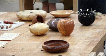 Photo: The Show & Tell table has a variety of hollow forms, art pieces, bowls, and mini-tools with turned handles.