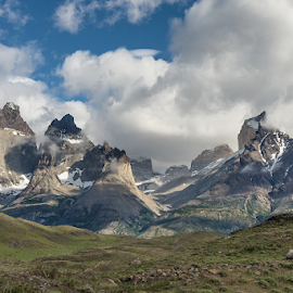 Mountain Tops by Phyllis Plotkin - Landscapes Mountains & Hills ( mountains, clouds, torres del paine, landscape, chile )